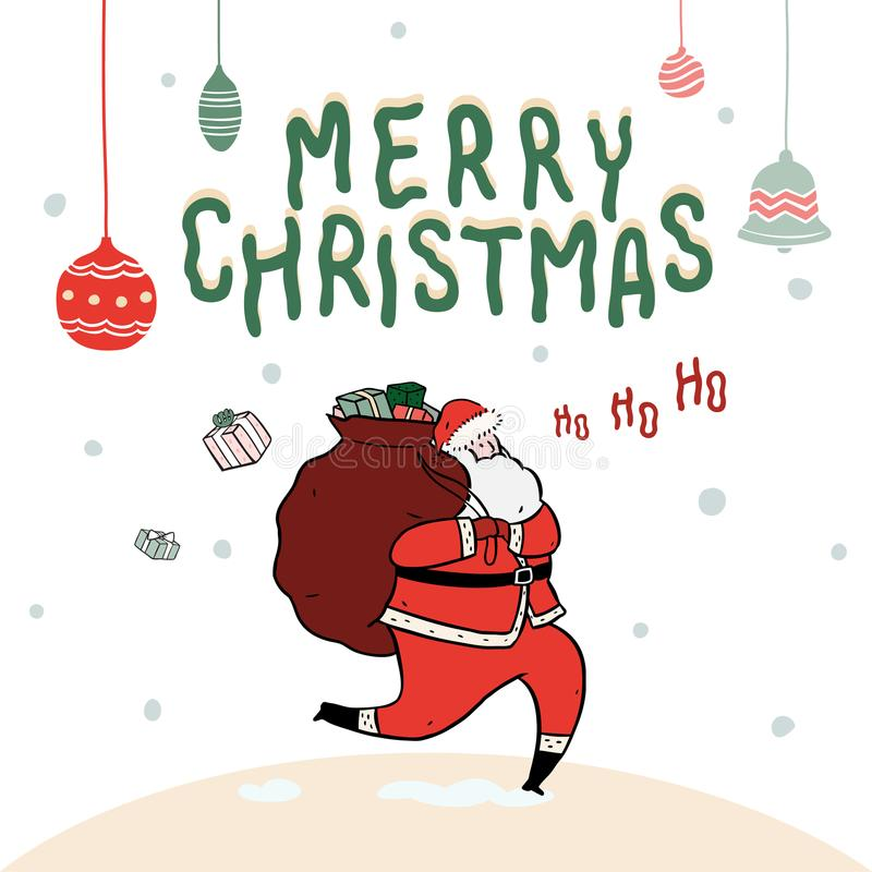 Hand drawn vector illustration of Santa Claus with sack full of gifts on snow background. Merry Christmas Typography. stock illustration