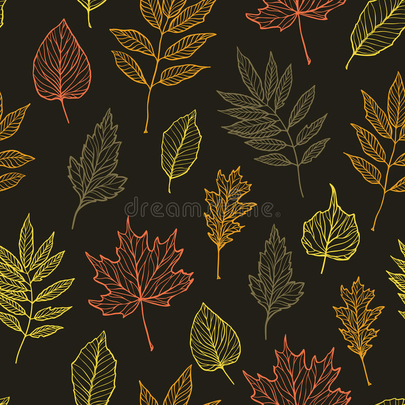 Hand drawn vector illustration. Seamless pattern with fall leaves royalty free illustration