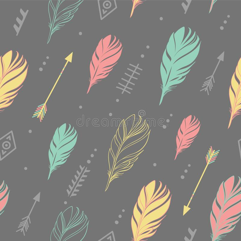 Hand drawn vector illustration. Seamless pattern with tribal arrows on dark gray background. Perfect for wallpapers royalty free illustration