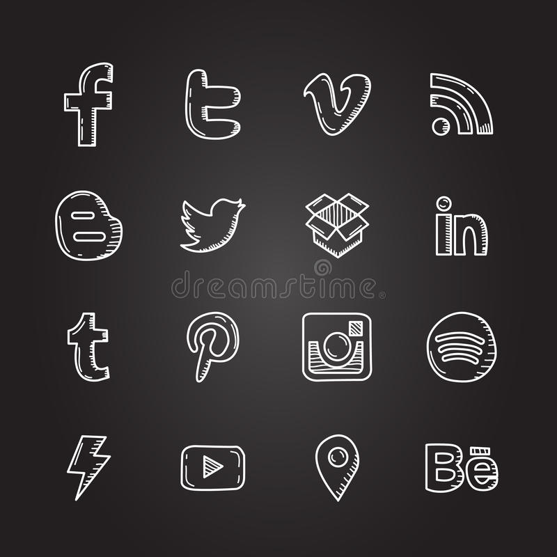 Hand drawn vector illustration set of social media sign icon and symbol stock illustration