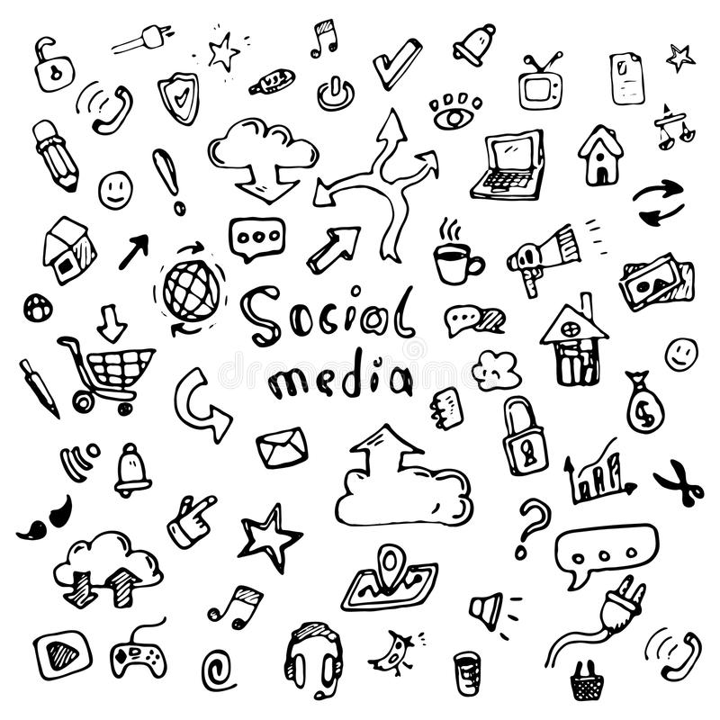 Hand drawn vector illustration set of social media sign and symbol doodles elements. Isolated on white background. Hand drawn vector illustration set of social vector illustration