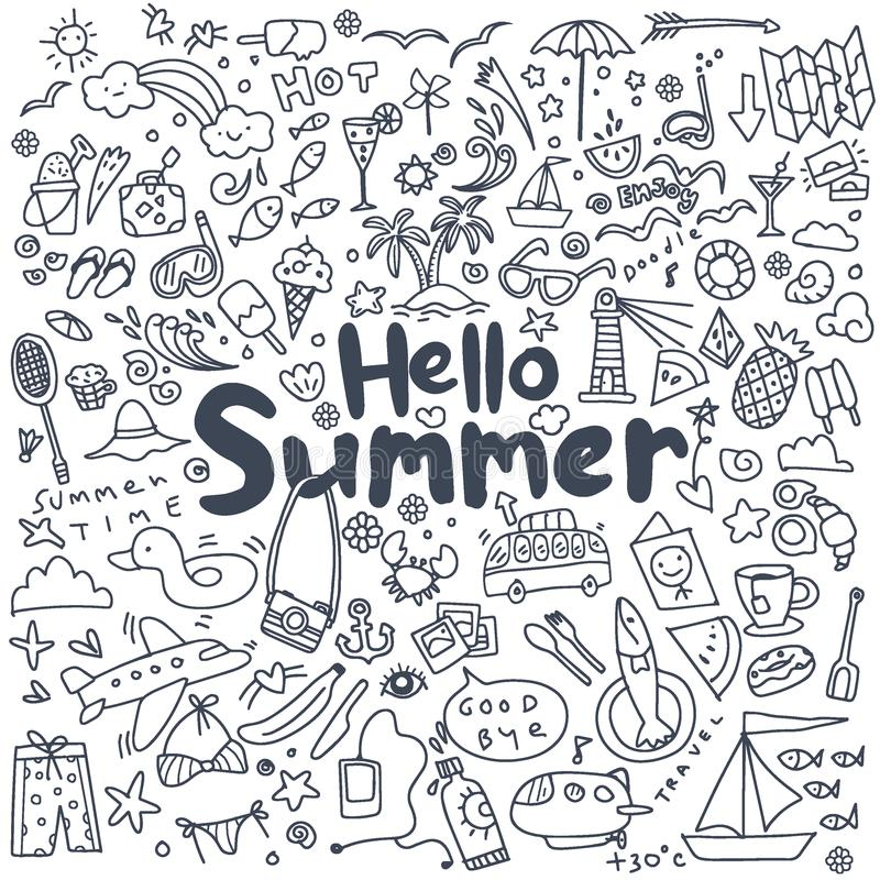 Hand drawn vector illustration set of summer elements.Hand drawing Doodle royalty free illustration