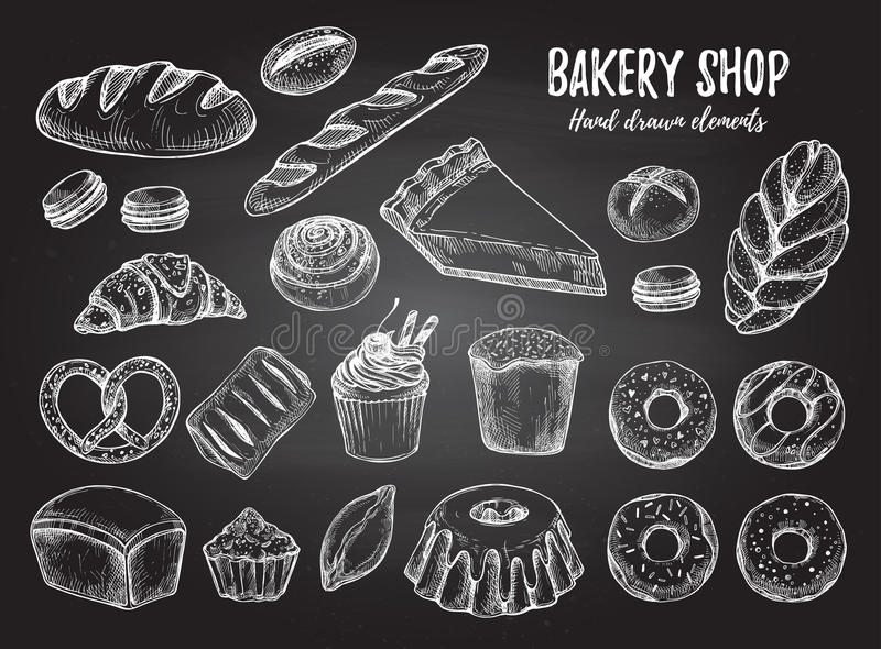 Hand drawn vector illustration - Set with sweet and dessert cro stock illustration