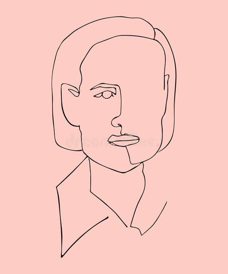 Hand drawn vector illustration of silhouette woman face. One continuous line. vector illustration