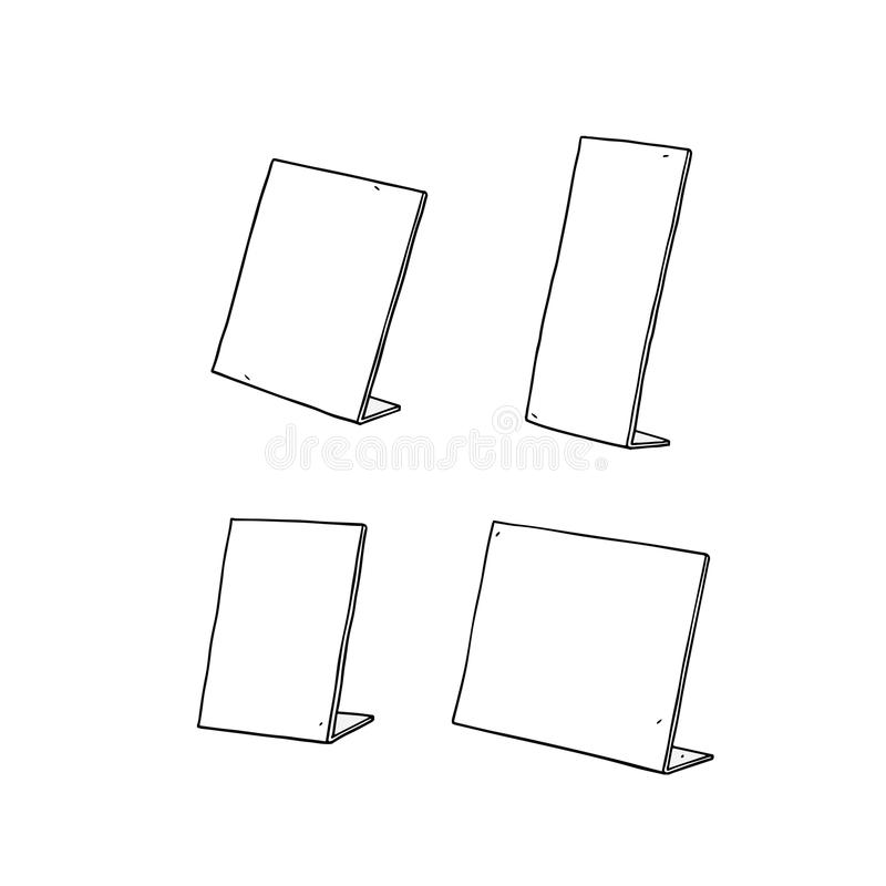 Hand drawn vector illustration of table sign holder. stock illustration