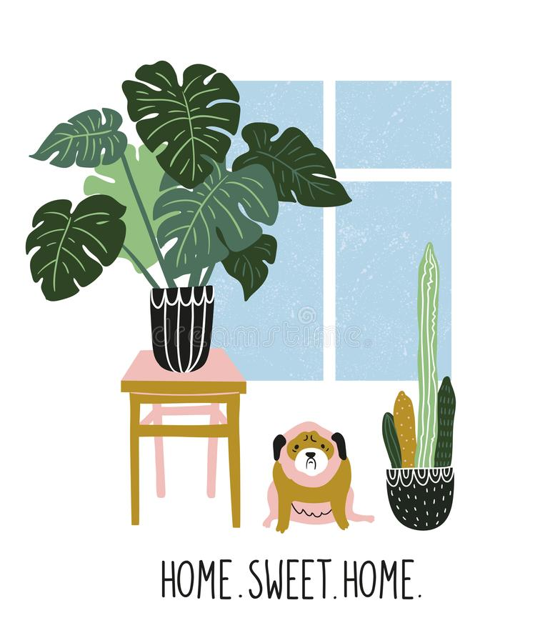 Hand drawn vector illustration with tropical house plants, window and cute dog. Modern home decor in scandinavian style. stock illustration