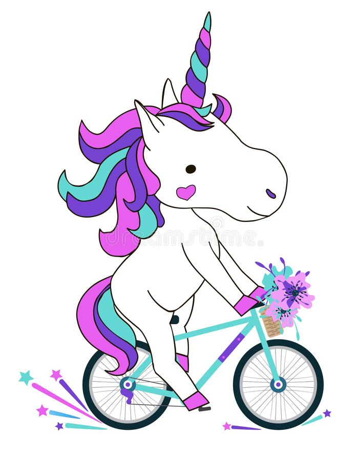 Hand drawn vector illustration. Unicorn ridding on a bicycle. Cute character design for t-shirts, greeting cards and invitations. stock illustration