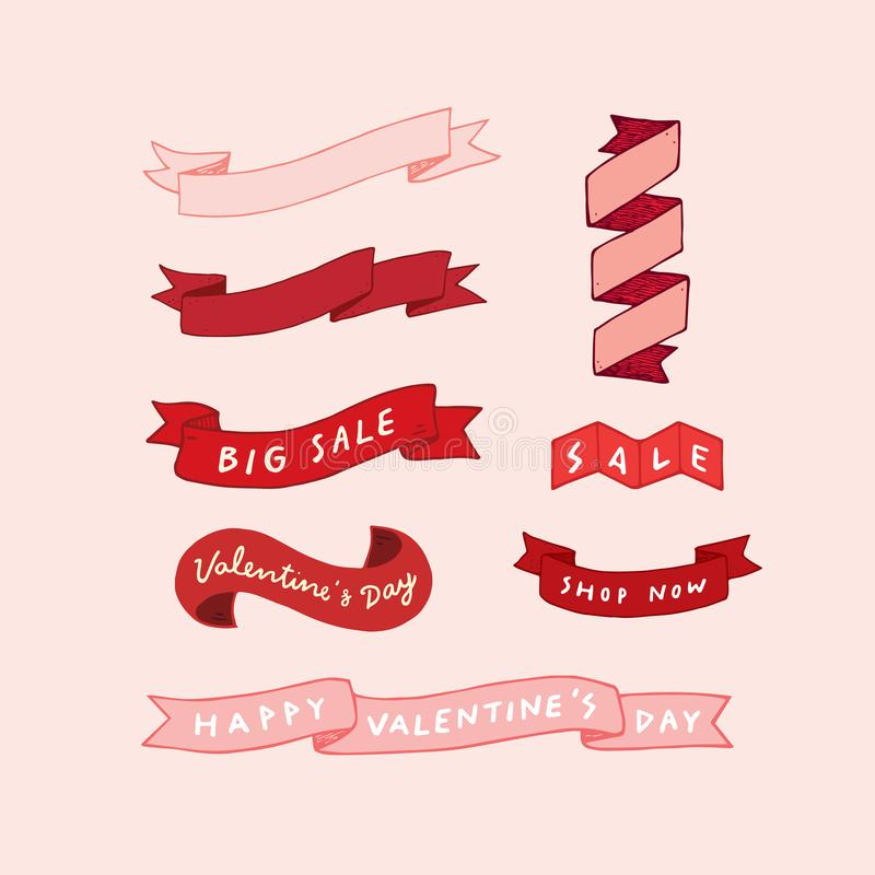 Hand drawn vector illustration of Valentine`s day ribbon set. stock illustration