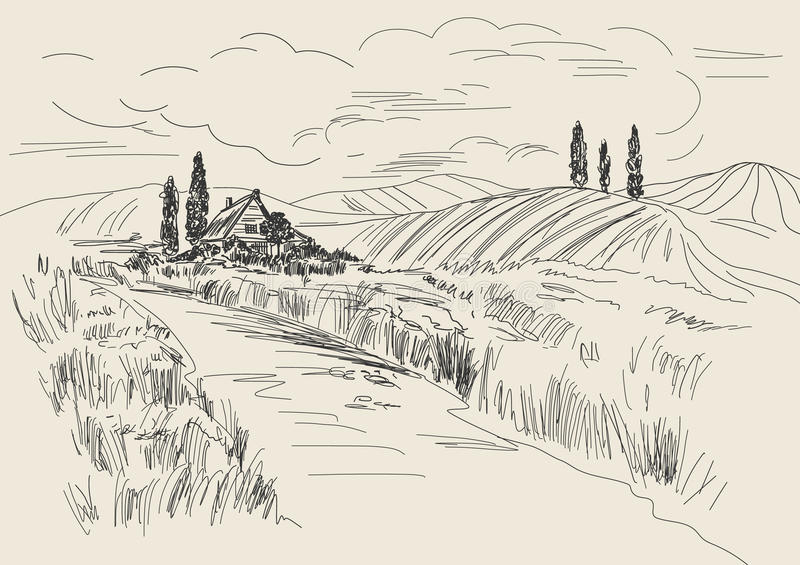 Hand drawn vector Illustration of wheat fields and village house. Ink drawing in vintage style.  royalty free illustration