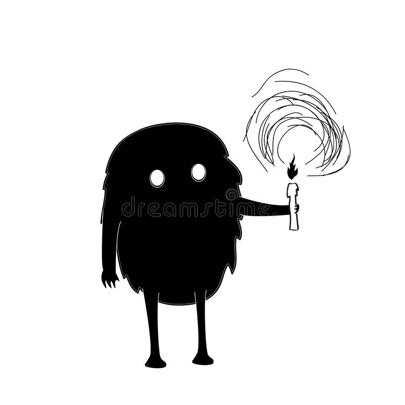 Free Hand Drawn Vector Illustration With Black Cute Monster With Candle Royalty Free Stock Photos - 131422018