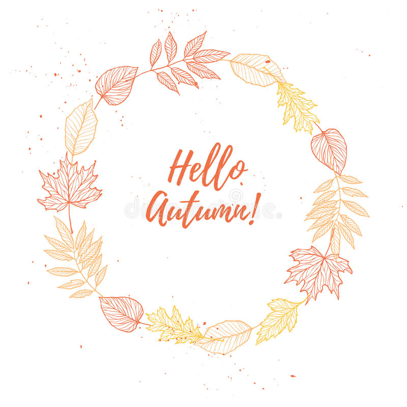 Hand drawn vector illustration. Wreath with Fall leaves. Forest. Design elements. Hello Autumn vector illustration