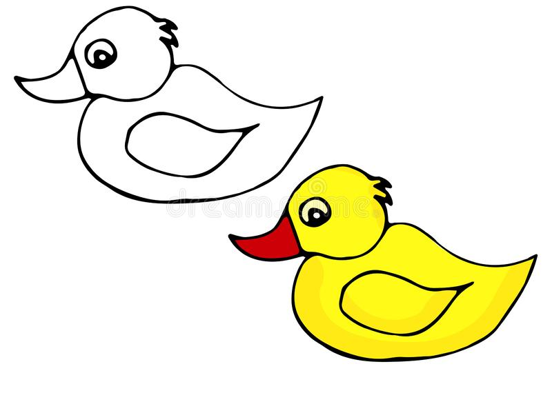 Hand-drawn vector illustration of a yellow rubber duck for bath and spa icon. Pattern for coloring stock illustration