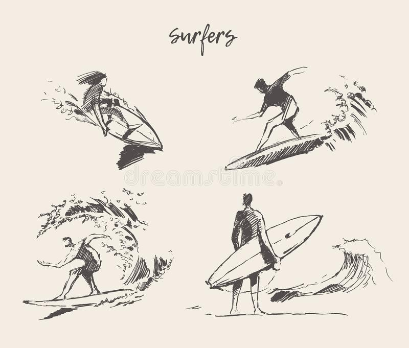 Set drawn vector young man beach surfboard sketch vector illustration