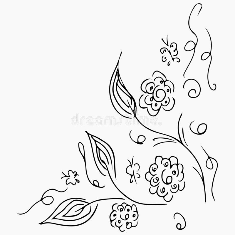 Hand Drawn Vector Illustrations Of Abstract Set of Flowers and Butterflies Isolated on Gray. Floral Design Elements For vector illustration