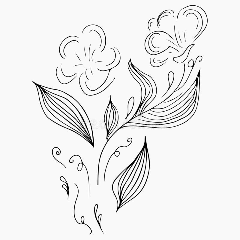 Hand Drawn Vector Illustrations Of Abstract Set of Flowers Isolated on Gray. Floral Design Elements For Invitations, Greeting stock illustration