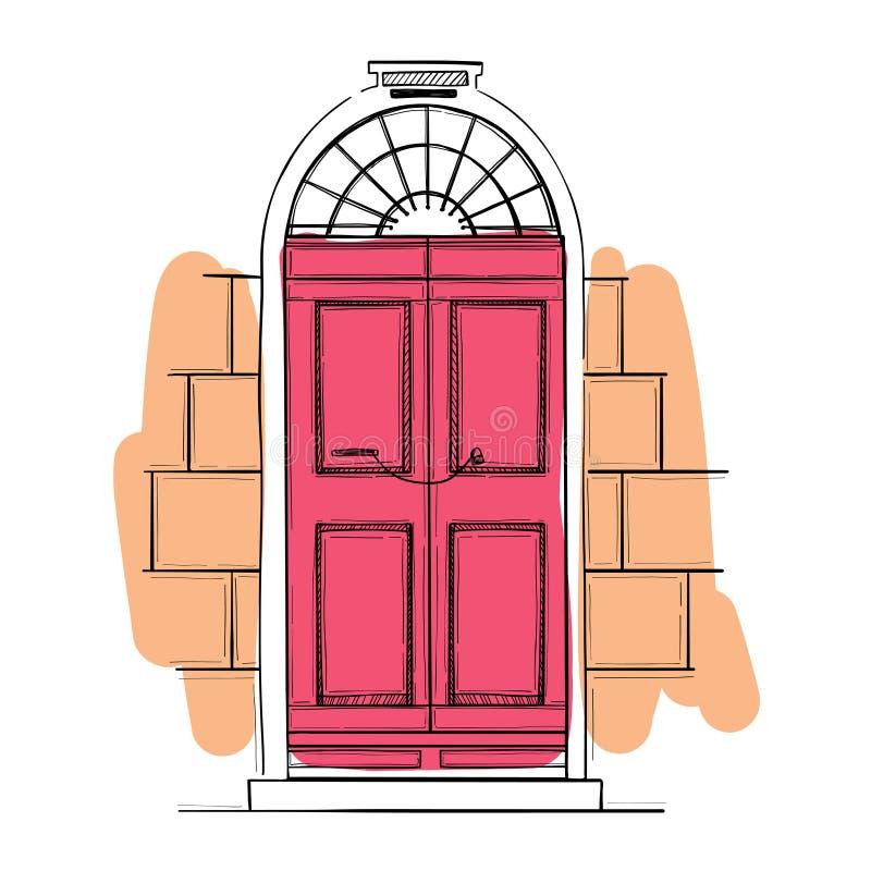 Hand drawn vector illustrations - old vintage door. royalty free illustration