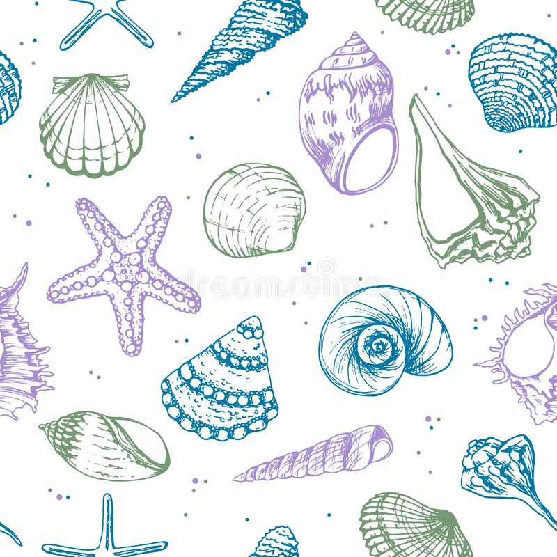Hand drawn vector illustrations - seamless pattern of seashells. Marine background. Perfect for invitations, greeting vector illustration