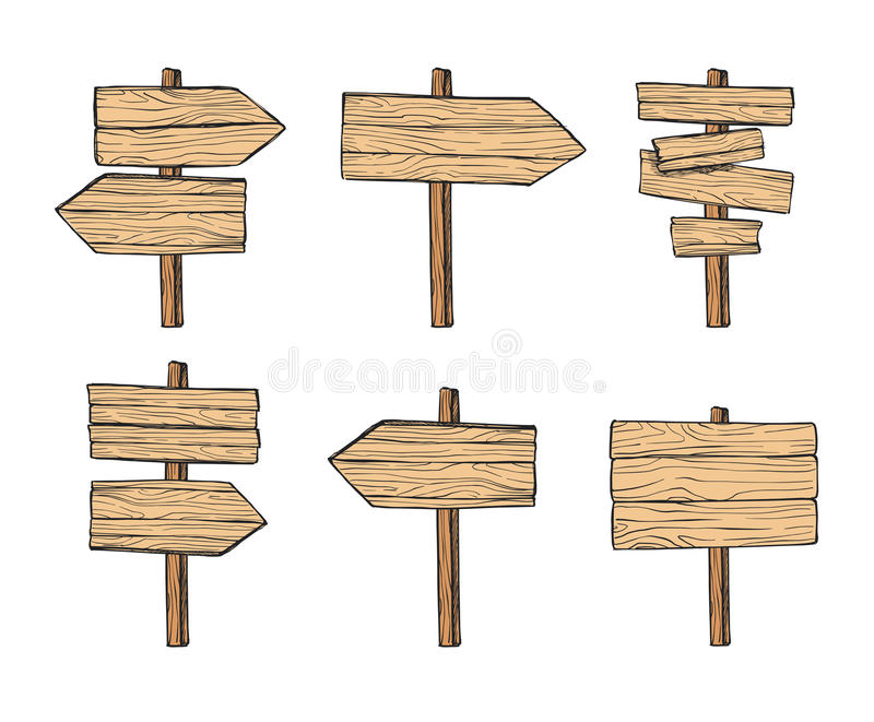 Hand drawn vector illustrations. Wooden signposts and sign board. S. Wood arrows and planks. Perfect for websites, cards, posters, prints, blogs, advertising royalty free illustration