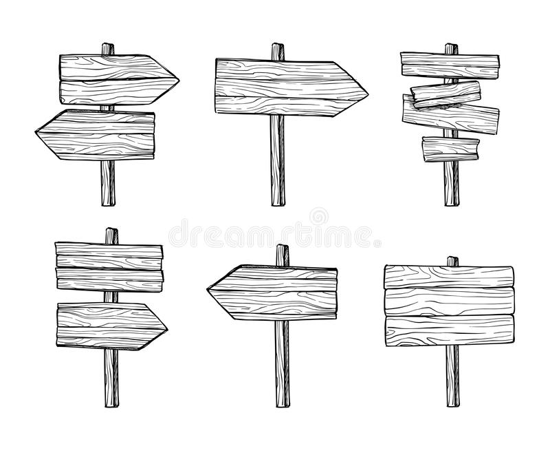 Hand drawn vector illustrations. Wooden signposts and sign board. S. Wood arrows and planks. Perfect for websites, cards, posters, prints, blogs, advertising vector illustration