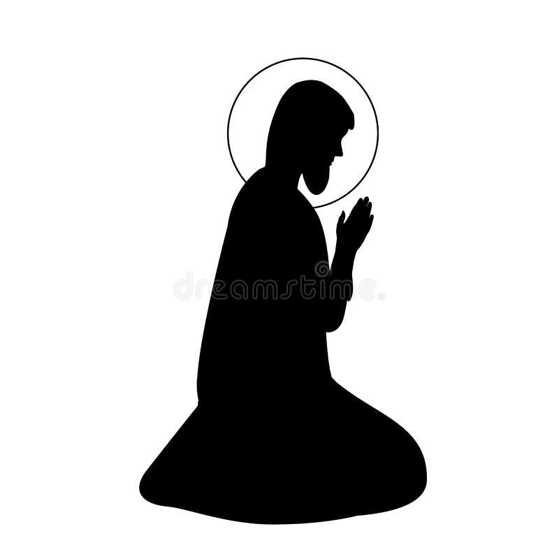 Hand drawn vector ink illustration or drawing of Saint Joseph silhouette vector illustration