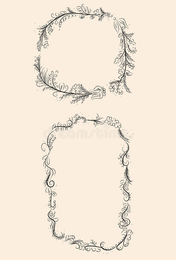Hand drawn vector laurel wreath frames. Two detailed laurel wreath frames in a hand drawn style vector illustration
