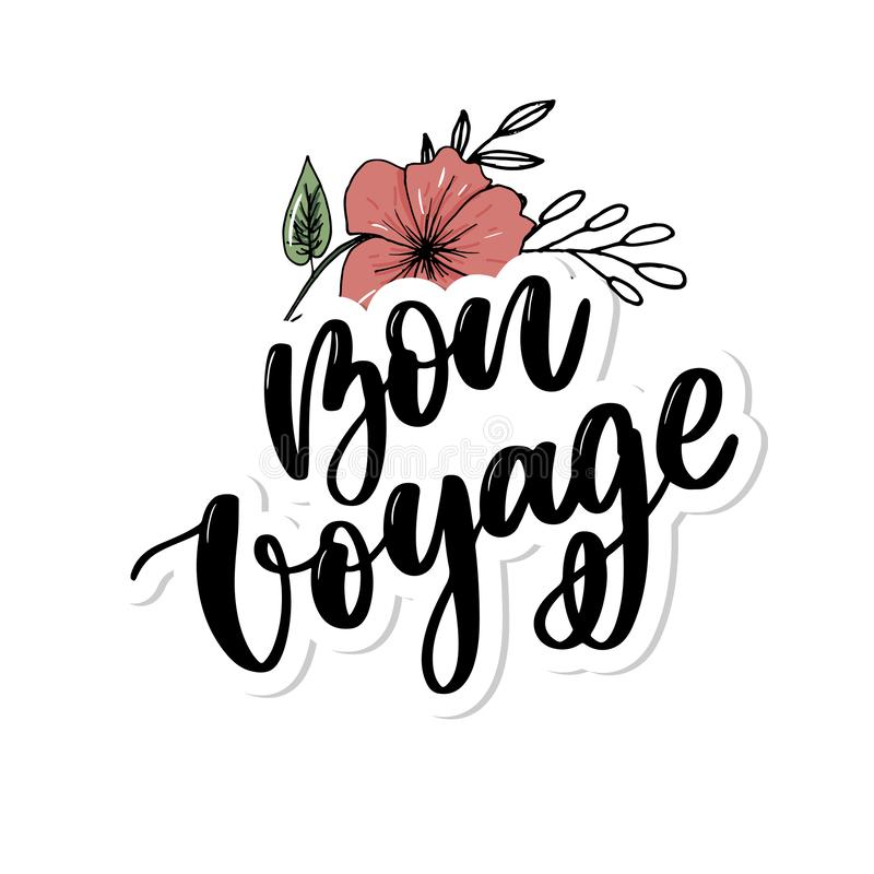 Hand drawn vector lettering. Bon voyage word by hands. Isolated vector illustration. Handwritten modern calligraphy. Inscription. Banner, travel, typography stock illustration