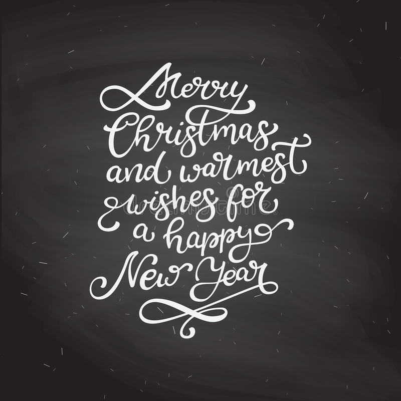 Hand drawn vector lettering Merry Christmas and Happy New Year. stock illustration