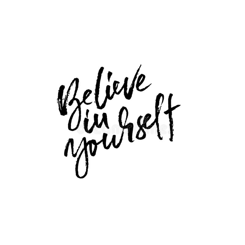 Hand drawn vector lettering. Motivation modern dry brush calligraphy. Handwritten banner. Printable phrase. Believe in royalty free stock photos