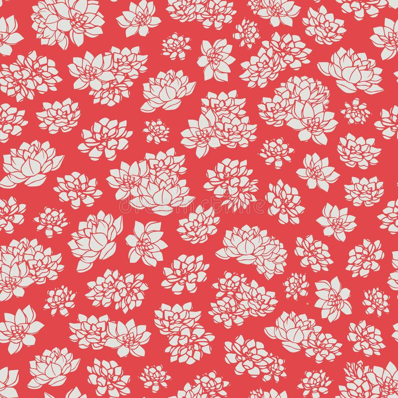Hand drawn vector lilies silhouettes seamless pattern on red background. Asian floral design. Colorful hand drawn vector lilies silhouettes seamless pattern on stock illustration