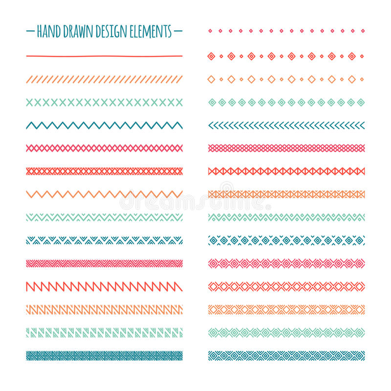 Hand drawn vector line border set and scribble vector illustration