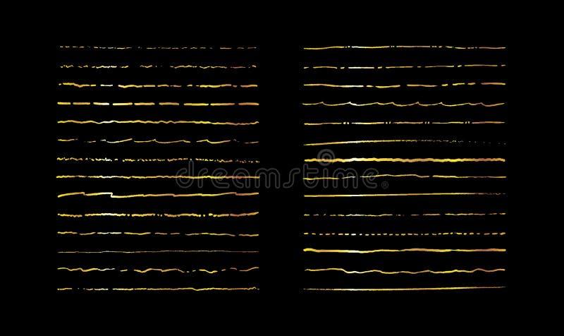 Hand drawn vector line set. Golden Calligraphy underline border element. Vintage cartoon frame element set. Gold ink stock illustration