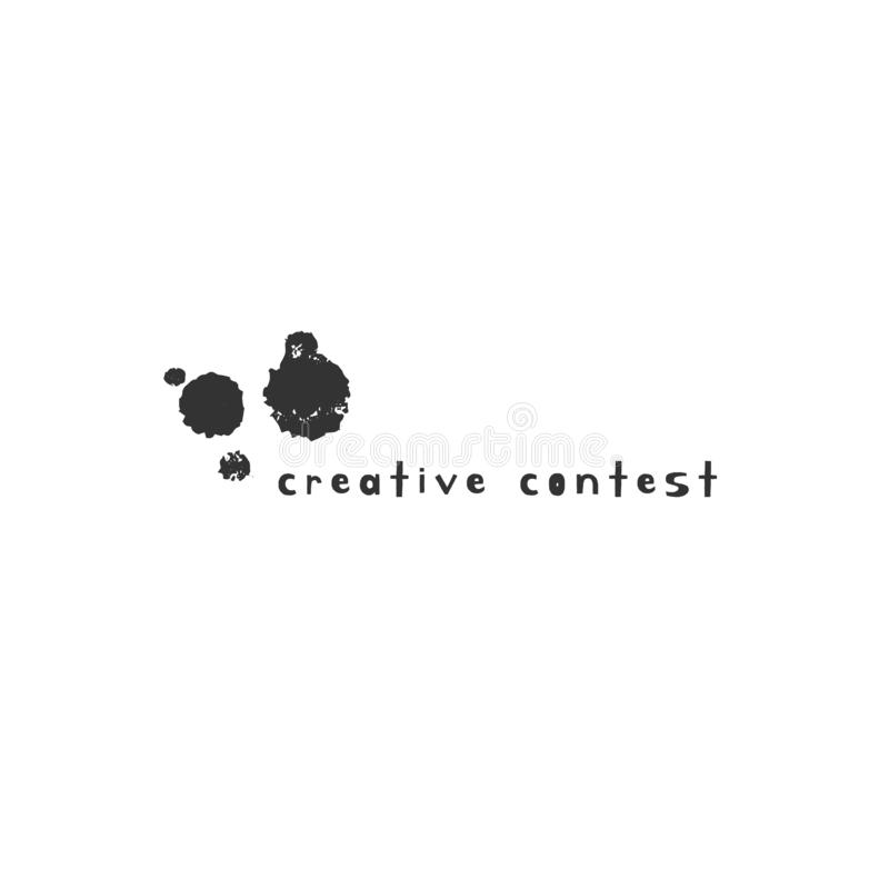 Hand drawn vector logo template with an ink blot. Creative Contest theme. For business identity and branding, for blogs and websites, for writers, designers stock illustration