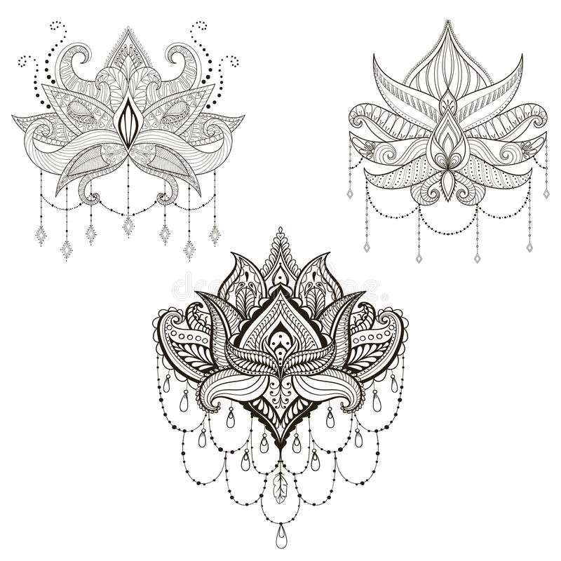 Hand drawn vector Lotus flower set, vector illustration, ornamental ethnic paisley. Henna tattoo art, boho and magic symbol in z. Entangle style for adult royalty free illustration