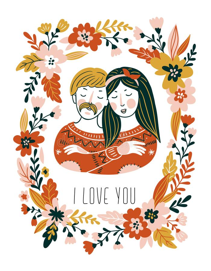 Hand drawn vector love card with couple and flowers for Valentine`s day. Stylish background for romantic card. royalty free illustration