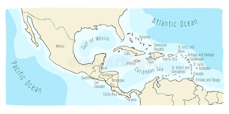 download doodle map of central america and mexico stock vector illustration of element global