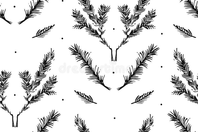 Hand drawn vector Merry Christmas rough freehand graphic design elements seamless pattern with ink scandinavian vector illustration