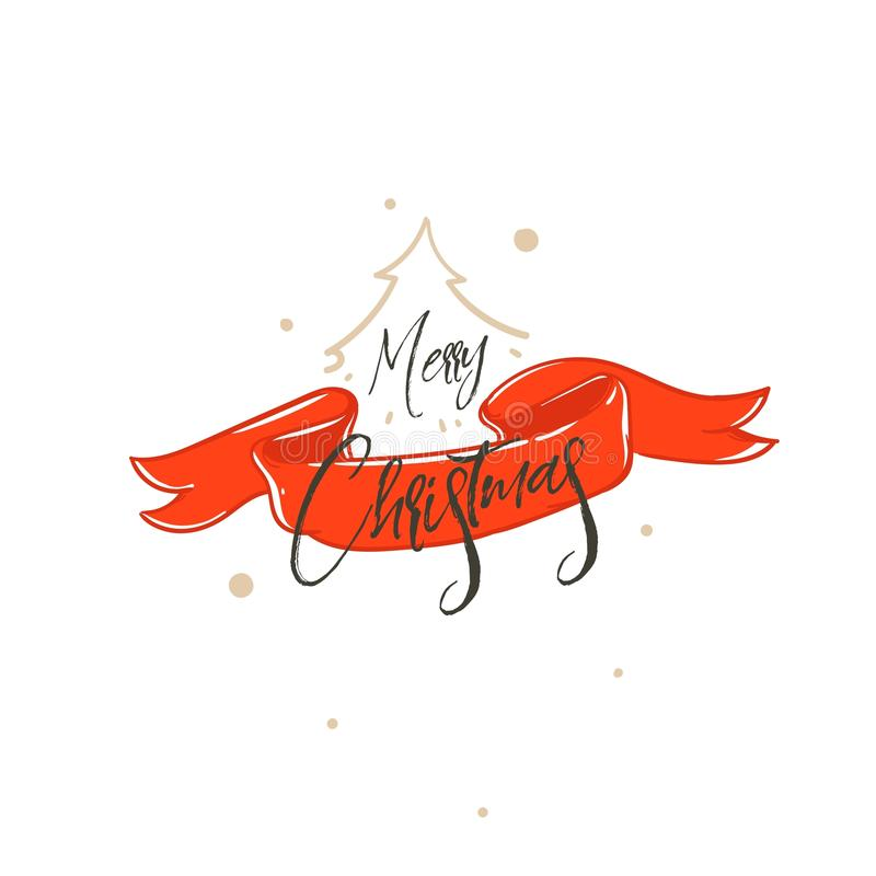 Hand drawn vector Merry Christmas shopping time cartoon graphic simple greeting illustration logo design with red ribbon stock illustration