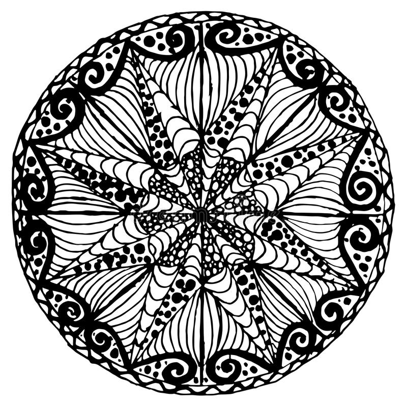 Hand drawn vector monochrome mandala sketch, doodle style design element, ethnic amulet for print. For web royalty free illustration