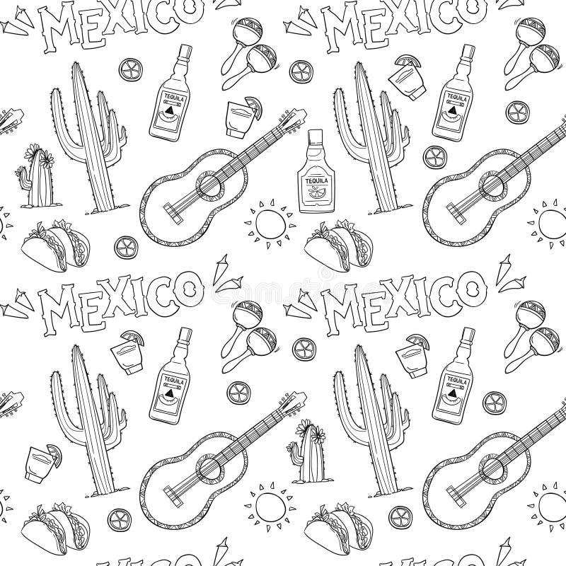 Hand-drawn vector naadloos patroon - Mexico vector illustratie