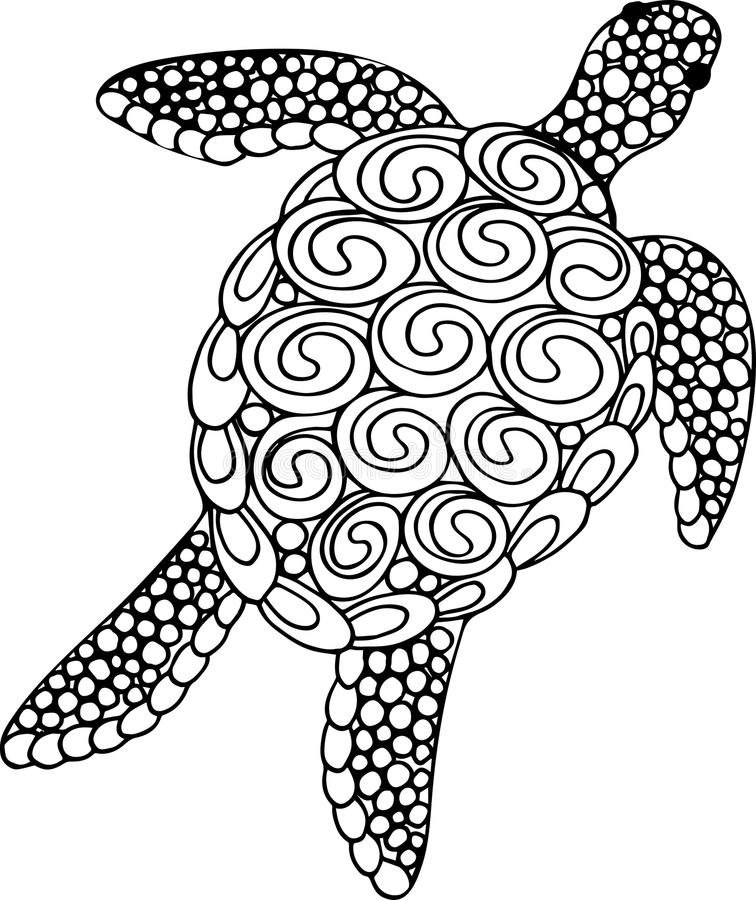 Vector Illustration Of Sea Turtle For Coloring Book Pages ...