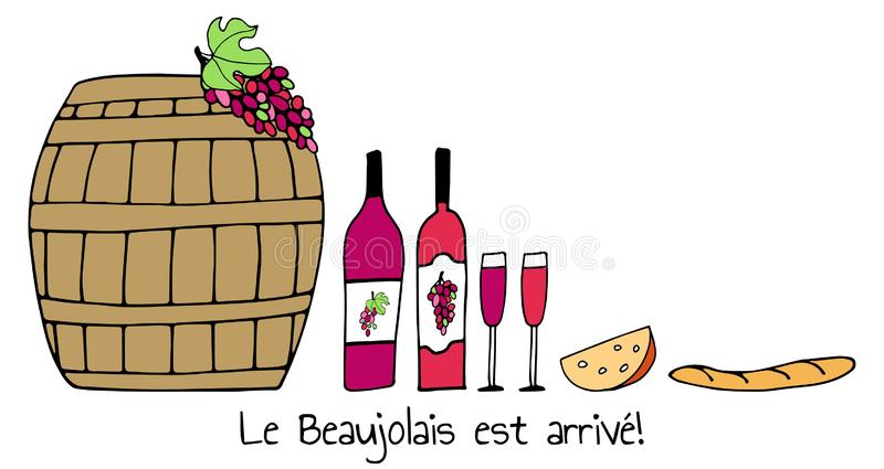 Hand drawn vector pattern with Barrel, cheese, wine glasses, bottles, grapes and bread. Wine party Beaujolais Nouveau event in. France. Text Le Beaujolais est royalty free illustration