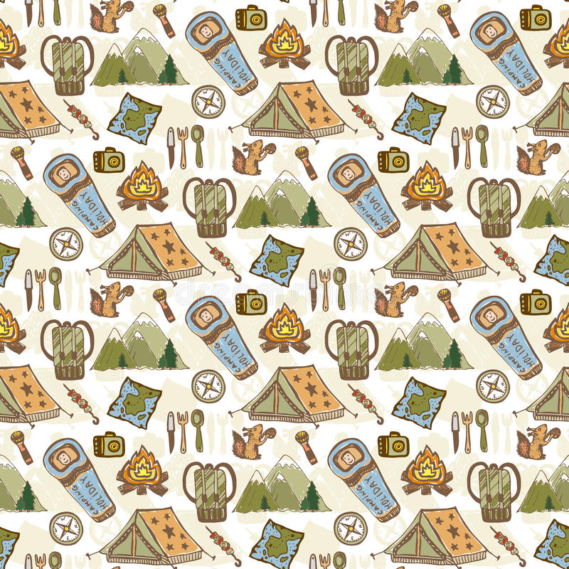 Hand drawn vector pattern with camping travel elements. Summer camp seamless background. Travel doodle vector pattern vector illustration