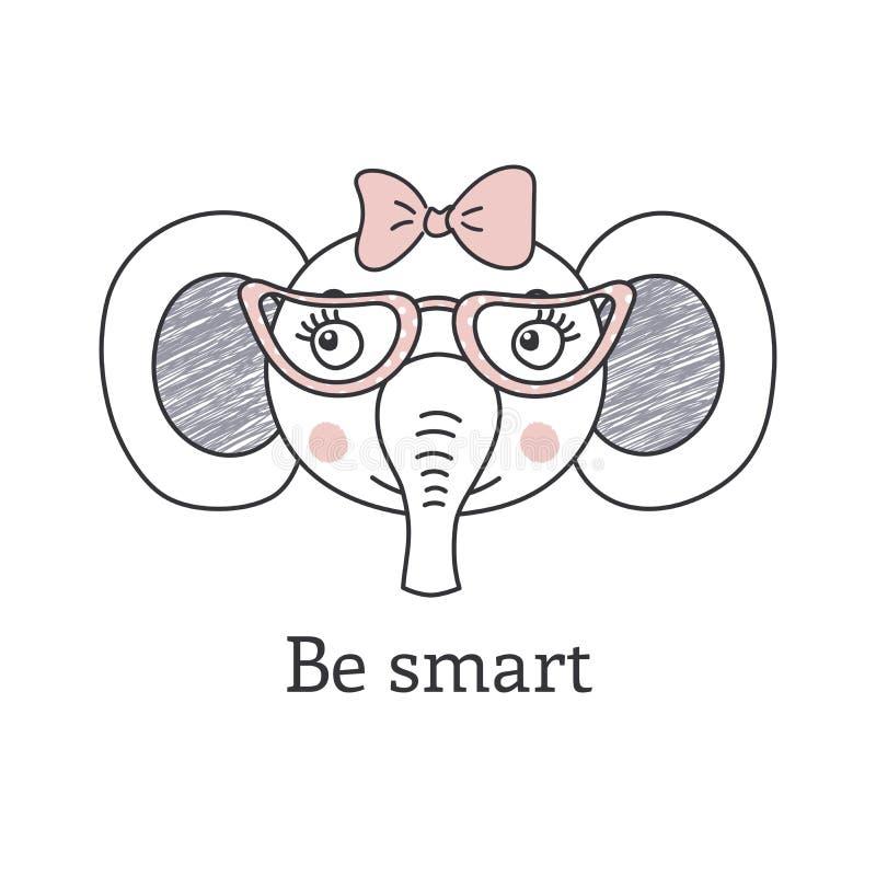 Cute elephant wearing glasses royalty free illustration