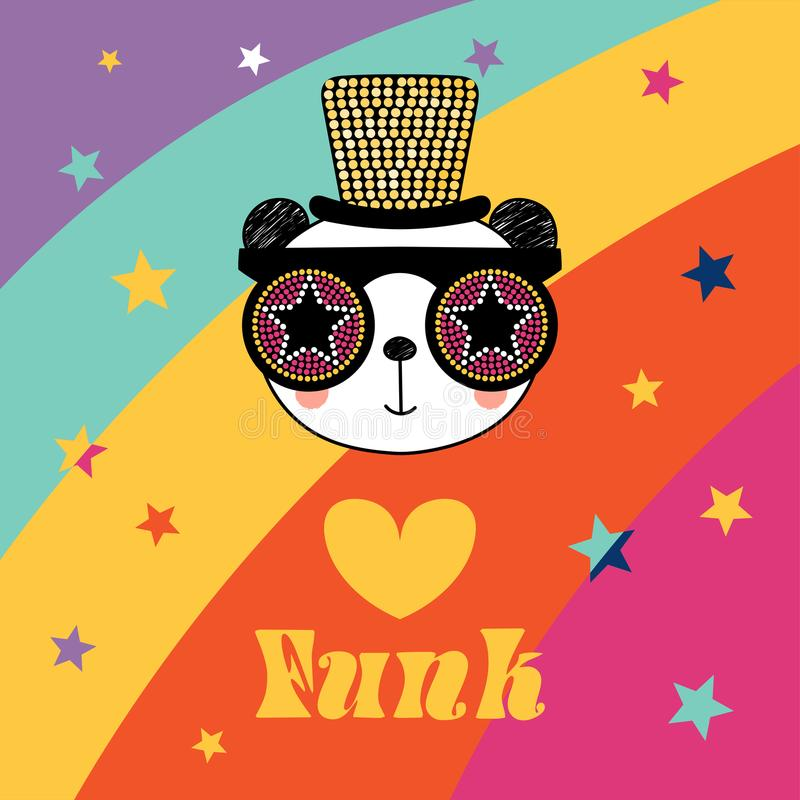 Cute panda in funky hat and glasses stock illustration