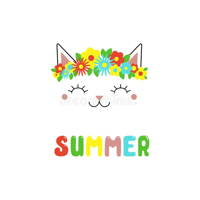 Cute cat with flowers. Hand drawn vector portrait of a cute funny cat with flowers, text Summer. Isolated objects on white background. Vector illustration stock illustration