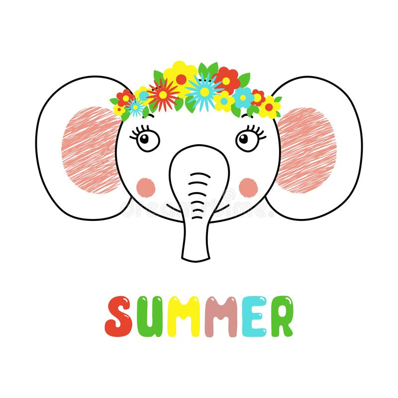 Cute elephant with flowers vector illustration