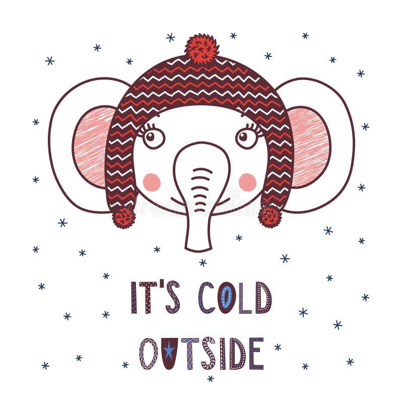Cute elephant in a warm hat stock illustration