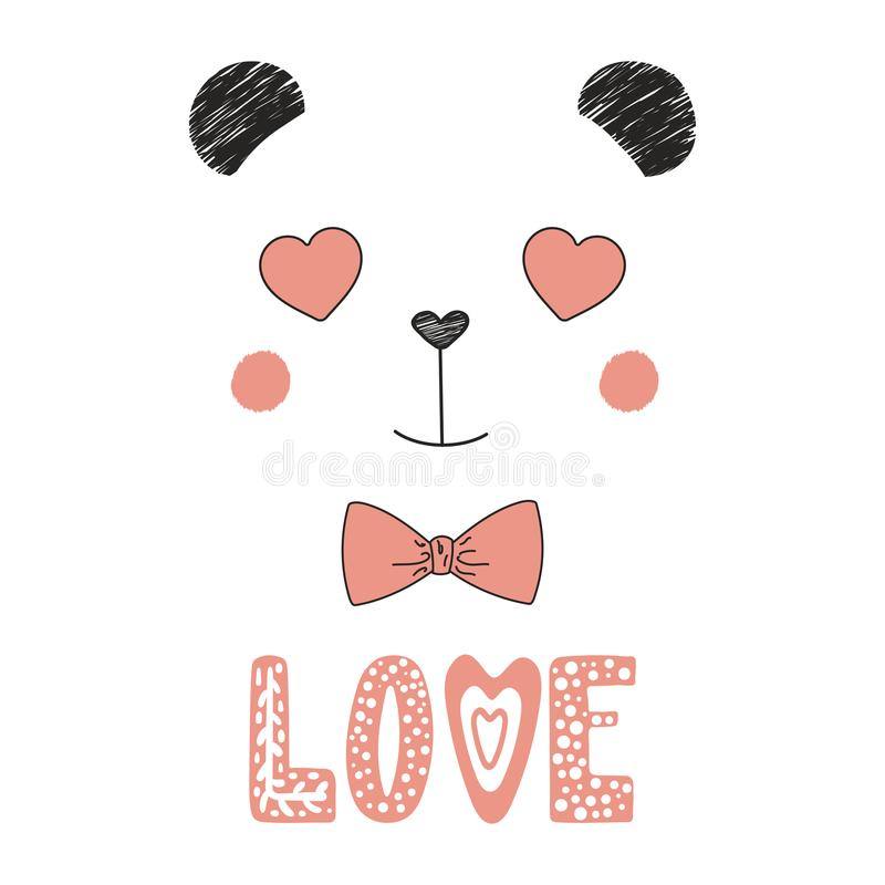 Cute panda with heart shaped eyes vector illustration