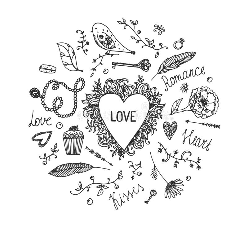 Hand Drawn Vector Romantic Set. Love. Wedding elements for postcard , invitation, valenites card. Hand drawn doodles stock illustration