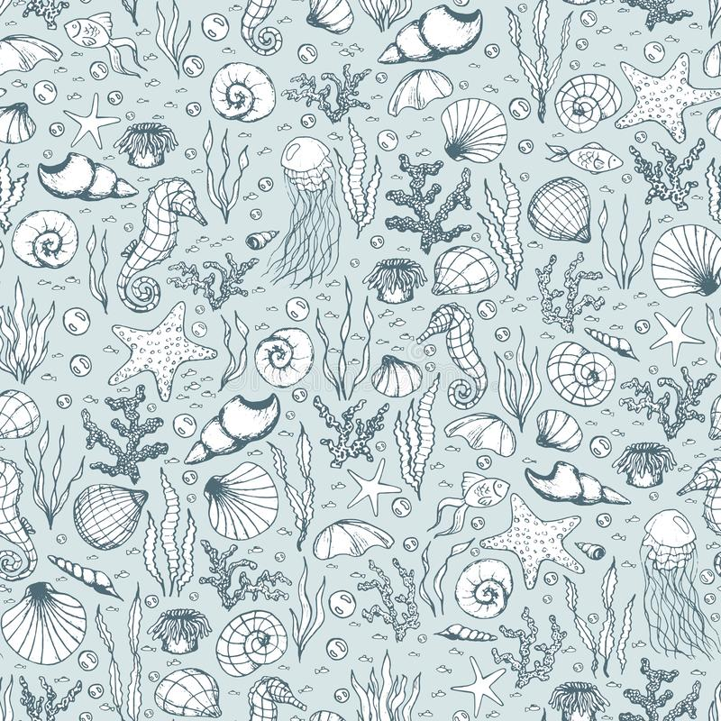 Hand drawn vector sea life seamless pattern with seahorses, fish, starfish, corals, seashells and jellyfish outline on the blue royalty free illustration